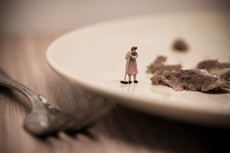 macro   photo: Miniature Housemaid Washing Dishes. Macro photo.