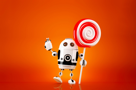 lollypop: Robot with lollipop on orange background. Contains clipping path. Stock Photo
