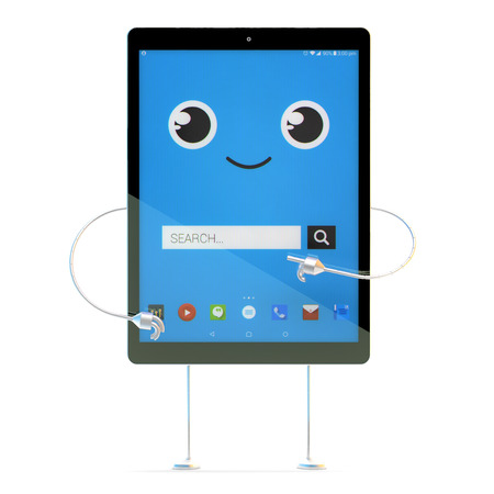 tablet: Tablet cartoon character. Search concept. 3d illustration with clipping path.