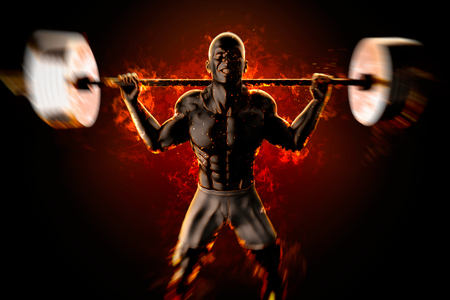 infernal: Bodybuilder with flaming barbell. 3d rendering.