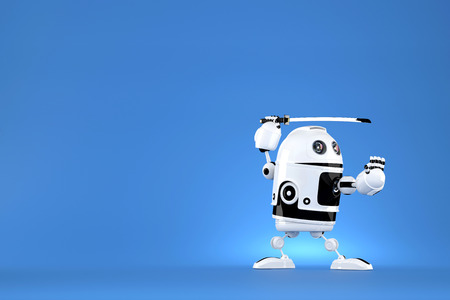 cybernetics: Robot with katana on blue background. Contains clipping path. Stock Photo