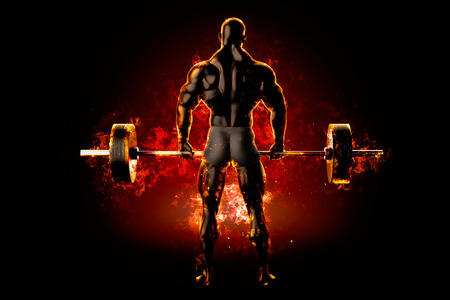 Flaming athlete with a barbell. Back view. 3d rendering.