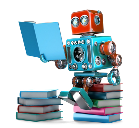 reads: Retro Robot reading  books. Isolated. 3D illustration.