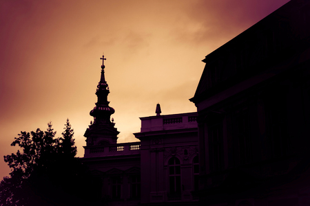 serbia xmas: Silhouette of St. Michael the Archangel Cathedral at sunset. Belgrade, Serbia.