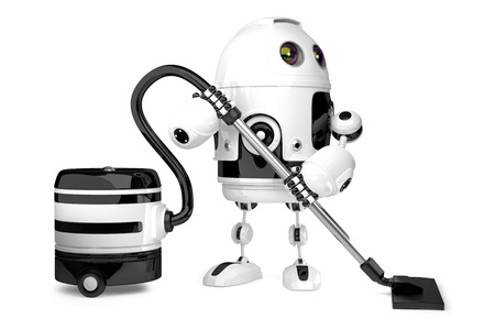 rubbish: Cute Robot with vacuum cleaner. Isolated. 3D illustration. Stock Photo