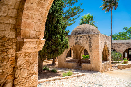 Courtyard of medieval Ayia Napa Monastery. Ayia Napa, Cyprus. Stock Photo