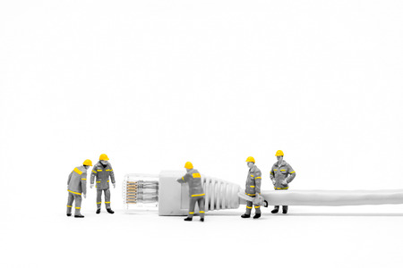 cat5: Technicians with cat5 network cable. Networking concept. Macro photo Stock Photo