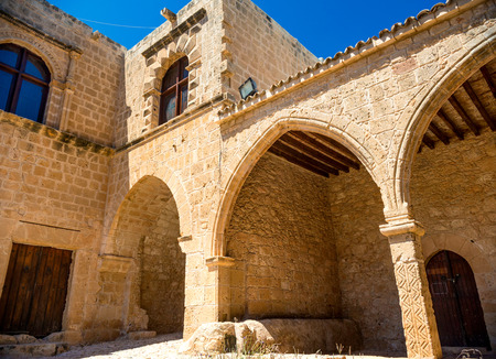 rampart: Ayia Napa monastery, gates connected to the rampart, surrounding monastery. Famagusta district. Cyprus. Stock Photo