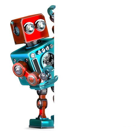 retro robot: Retro Robot with blank banner. 3D illustration. Isolated.