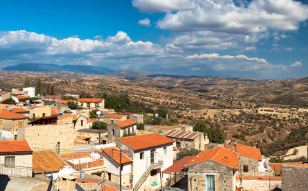 High angle view at Dora village. Limassol District, Cyprus.