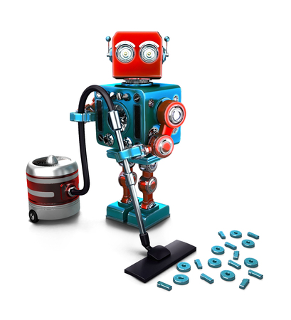 Concept of a Robot that vacuums digits on the floor. 3D illustration. Isolated.