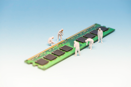 dimm: Technicians inspecting RAM memory module. Macro photo. Stock Photo