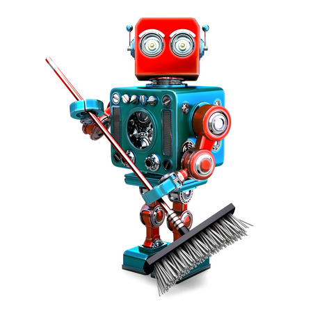 white person: Robot cleaner with a broom. 3D illustration. Isolated
