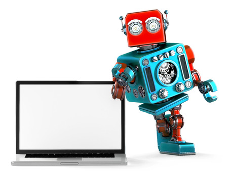 retro robot: Retro Robot with blank screen laptop. 3d illustration. Isolated.