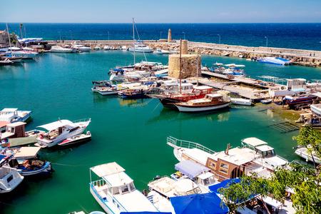 high angle: Kyrenia Harbour, high angle view. Cyprus.