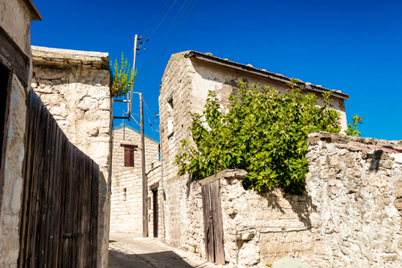 Charming old street of mountain Dora village. Limassol District, Cyprus.