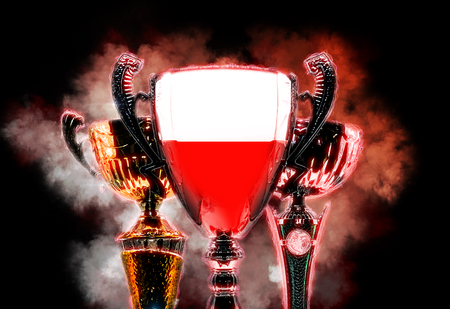 bandera de polonia: Trophy cup textured with flag of Poland. Digital illustration.