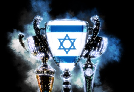 league: Trophy cup textured with flag of Israel. Digital illustration.