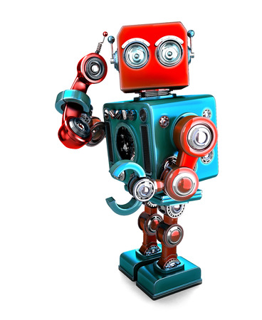 Cute 3D Retro Robot with phone tube. 3D illustration. Isolated. Stock Photo
