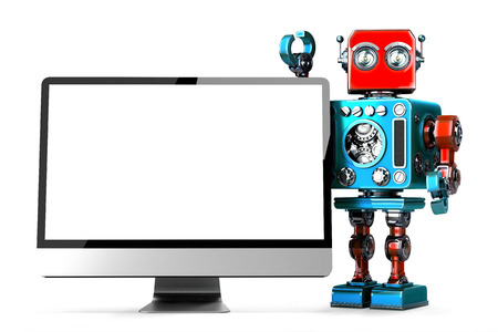 retro computer: Retro Robot with computer display. Isolated. 3D illustration. Stock Photo