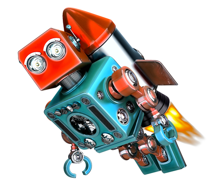 fly up: Robot fly on rocket. Start up concept. 3d illustration. Isolated.