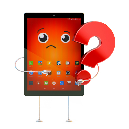questionmark: Tablet cartoon character with question mark. 3D illustration. Contains clipping path.