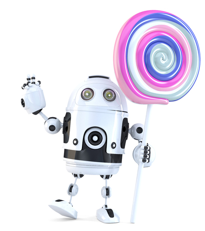 lolli: Cute Robot with lollipop. Technology concept. 3D illustration. Isolated, Contains clipping path.