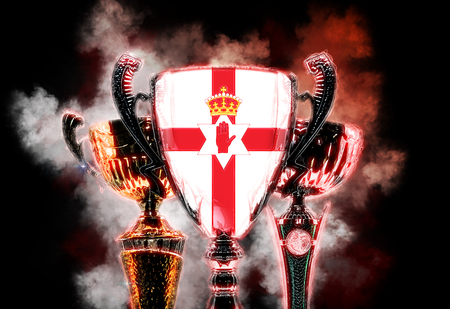 red cross: Trophy cup textured with flag of Northern Ireland. 2D Digital illustration. Stock Photo
