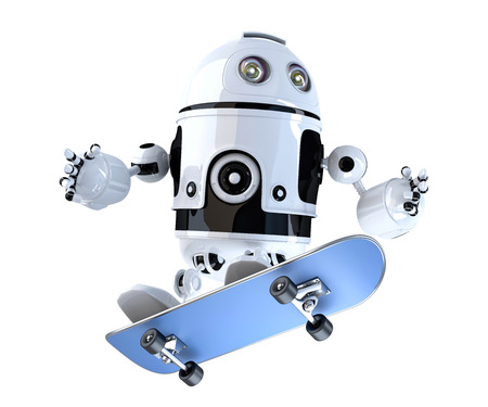 boarding: Robot with skateboard. Technology concept. 3D illustration. Contains clipping path.