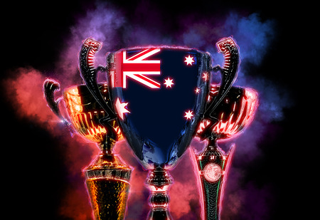 first australians: Trophy cup textured with flag of Australia. Digital illustration.