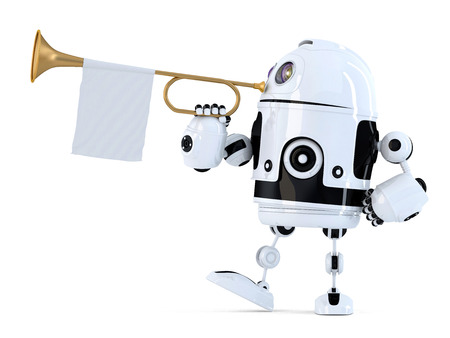 fanfare: Robot holds trumpet with blank white flag. 3D illustration. Isolated. Contains clipping path.