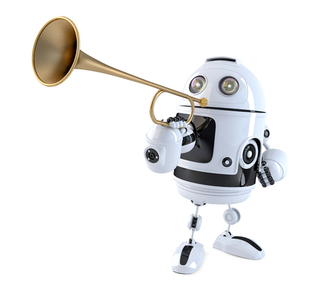 muscian: Robot trumpet player. Technology concept. 3D illustration. Contains clipping path.
