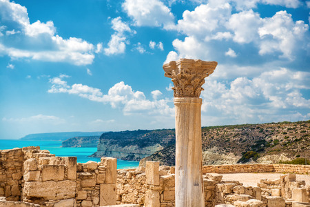 ?uins of ancient Kourion. Limassol District. Cyprus. 免版税图像