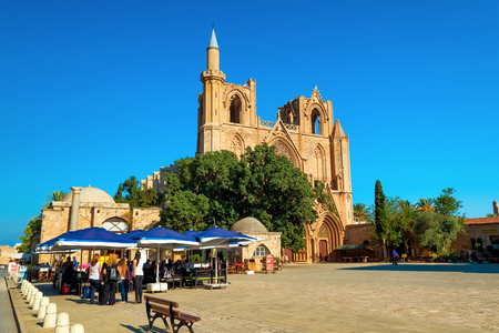 FAMAGUSTA, CYPRUS - OCTOBER 10, 2015: Lala Mustafa Pasha Mosque (formerly St. Nicholas Cathedral), Famagusta, Cyprus.