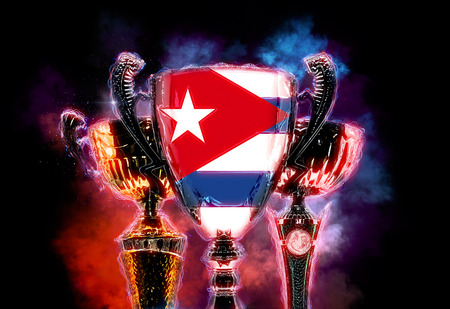 Trophy cup textured with flag of Cuba. 2D Digital illustration.
