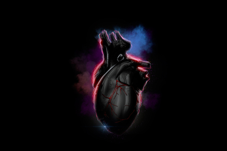 heart abstract: Illuminated human heart of glowing particles and smoke. 3D illustration.