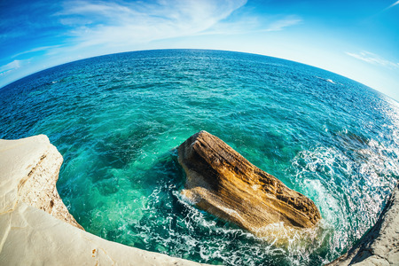 A view of a sea shore at Agios Georgios Alamanou. Limassol District, Cyprus. Stock Photo
