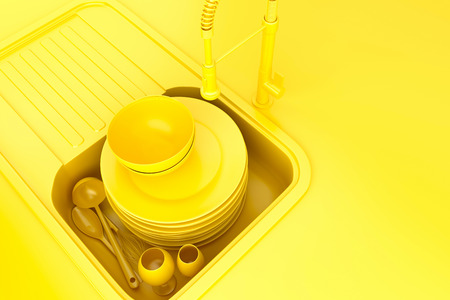 unwashed: Kitchen sink with dirty kitchenware and dishes. 3D illustration.