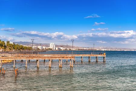 Pier at Enaerios Area. Limassol, Cyprus. Stock Photo