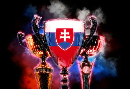 slovakian: Trophy cup textured with flag of Slovakia. 2D Digital illustration.