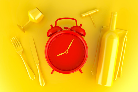 table setting: Table setting with red alarm clock, glass and wine bottle. Top view. 3D illustration. Stock Photo