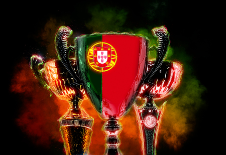 Trophy cup textured with flag of Portugal. 2D Digital illustration.