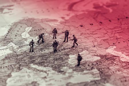 東ヨーロッパの軍事衝突。概念的な写真 写真素材