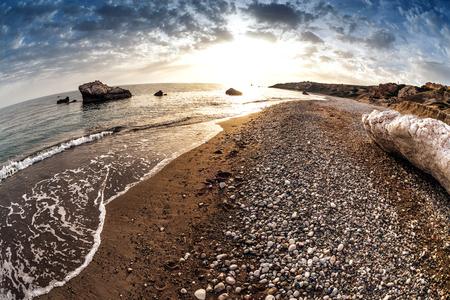 tou: Seascape near Petra tou Romiou, also known as Aphrodites Rock. Paphos District, Cyprus.