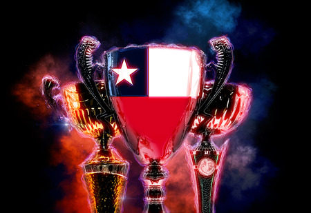 championship: Trophy cup textured with flag of Chile. 2D Digital illustration. Stock Photo