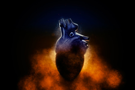 heart abstract: Abstract human heart in a smoke on a black background. 3D illustration.