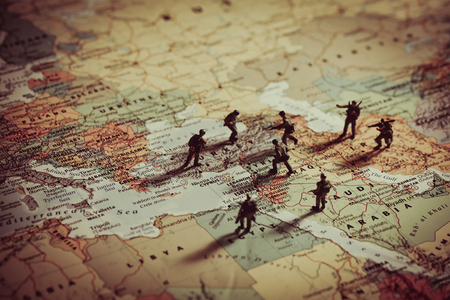 revolutionary war: Concept of military aggression in Middle East. Stock Photo