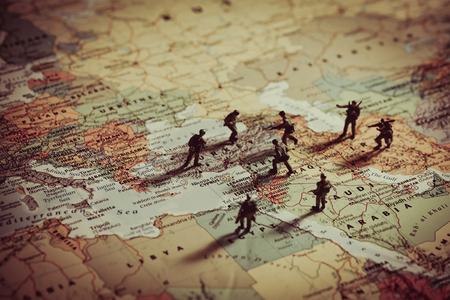 Konzept der militärischen Aggression in Mittleren Osten.