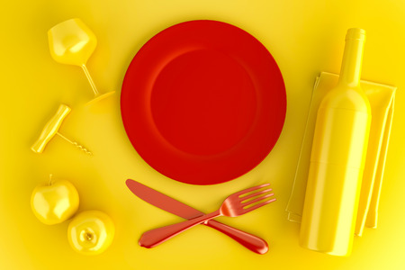 Table setting with empty red plate, glass and wine bottle. Top view. 3D illustration.