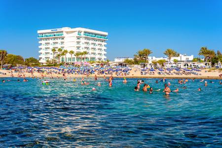 napa: AYIA NAPA, CYPRUS - AUGUST 18, 2016: Popular Sandy Beach Beach, near Nissi Bay. Editorial